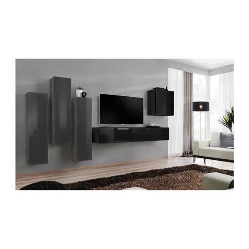 Ensemble meuble salon SWITCH III design, coloris noir et gris brillant.