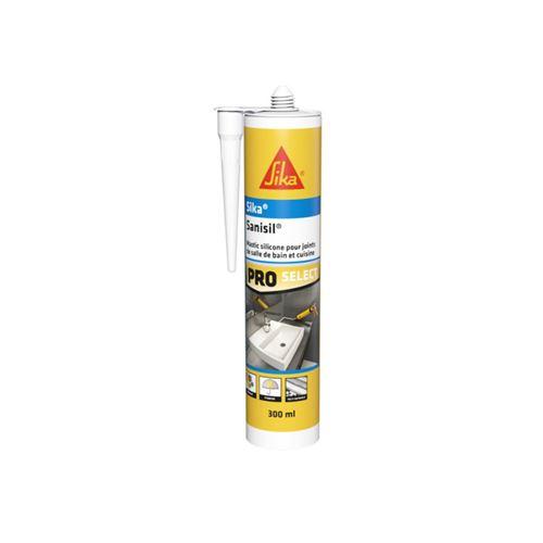 Mastic silicone anti-moisissure SIKA Sanisil - Blanc - 300ml