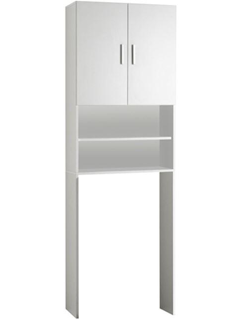 Meuble SDB coloris blanc - L.64 x H.190 x P.26 cm -PEGANE-