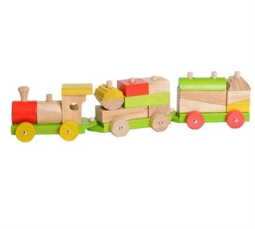Everearth Blocs de train en bois multicolore