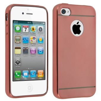 Coque iPhone 4 4S Protection Silicone Anti choc Effet Metal Rose gold