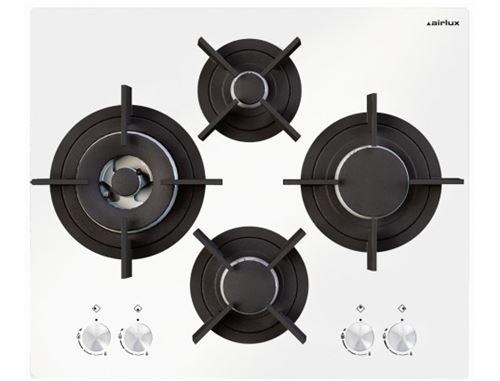 Airlux AV685HWH - Table de cuisson au gaz - 4 plaques de cuisson - Niche - largeur : 55 cm - profondeur : 47 cm - Blanc verre