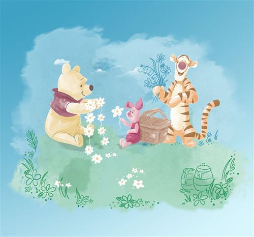 Papier Peint intissé Disney Winnie l'ourson et ses amis pique-nique 300 cm x 280 cm