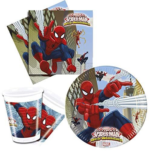 Ensemble de fêtes pour Enfants Marvel Ultimate Spiderman, Web Warriors, Assiettes, gobelets, Serviettes, décoration de Table, Annive