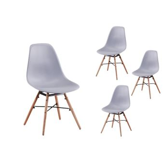 lot de 4 chaises scandinaves luna coque plastique et pieds bois couleur gris achat prix fnac - Chaises Scandinaves Couleur