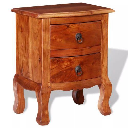 Meelady Table de Chevet Table de Nuit en Bois d'acacia Massif avec Tiroirs 40 x 30 x 50 cm