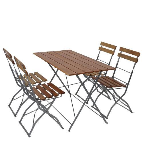 Salon de jardin/brasserie 1 table 4 chaises Berlin, pliable, bois huilé, 120x60x70cm ~ nature