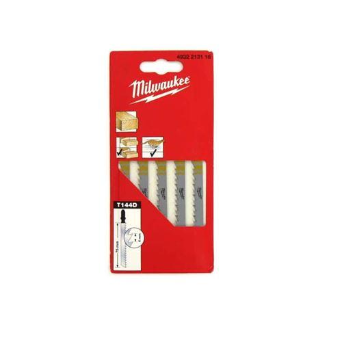 Pack de 5 lames scie sauteuse MILWAUKEE bois 75 mm denture de 4 mm 4932213116