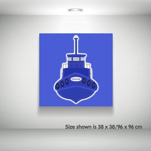 Feel Good Art Toile sur Cadre Art Mural de Style Moderne/Illustratif Bateau Remorquer Bleu 25 x 25 x 4 cm Petit
