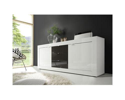 Buffet bahut blanc et gris laqué design FELINO 3 - Blanc - L 210 x P 43 x H 86 cm