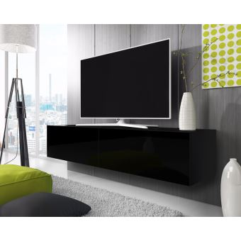Point Meuble Tv Suspendu 200 Cm Noir Mat Noir Brillant