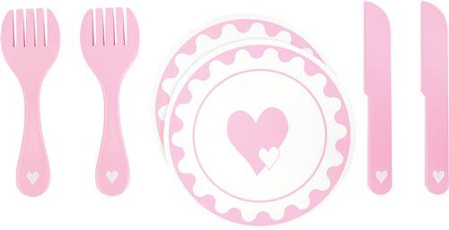 Small Foot service de vaisselle en bois 6 pièces rose