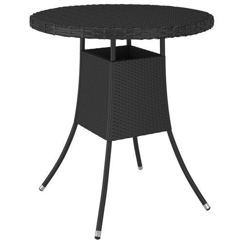 Table de jardin 70x70x73 cm Résine tressée Noir