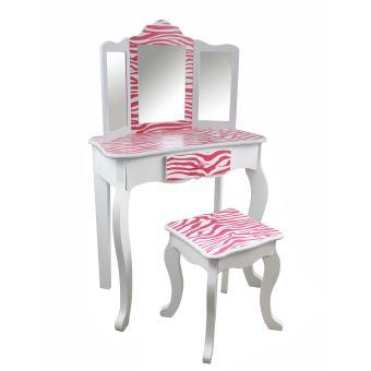 35 sur teamson meuble coiffeuse table de maquillage enfant miroir tabouret rose blanc dcoration de chambre achat prix fnac