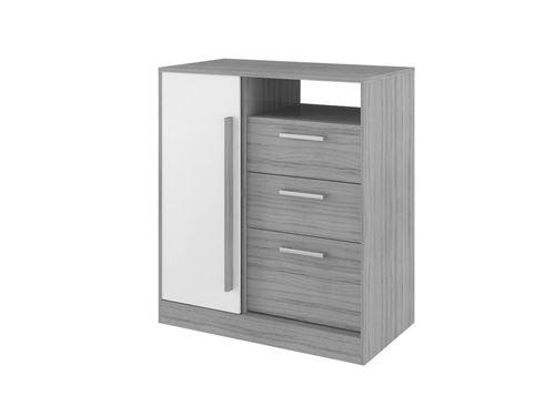Commode DEVY - 1 niche, 1 porte et 3 tiroirs - Gris et Blanc