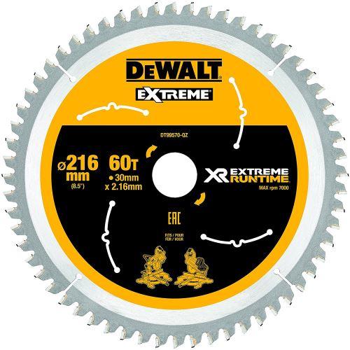DeWalt XR Extreme Runtime Lame de scie circulaire statique, 1 pièce, 216/30 mm 60 WZ/FZ, dt99570 de QZ