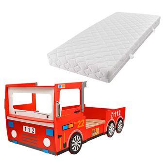 Vidaxl Lit Camion De Pompier Pour Enfants Avec Matelas 200 X 90 Cm