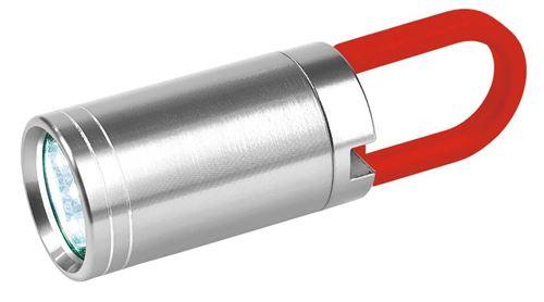 Moses lampe de poche 7Twist & Shine,9 cm argent/rouge