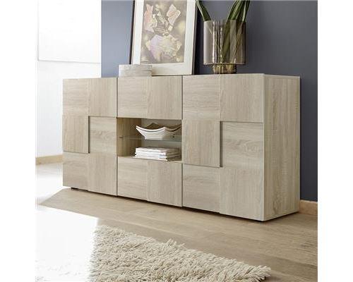 Bahut 2 portes 2 tiroirs couleur chêne clair ARTIC 3 - Marron - L 181 x P 42 x H 84 cm