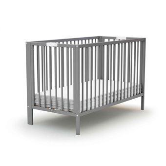 Lit b/éb/é pliant en bois laqu/é gris Baby Fox 60 x 120 cm