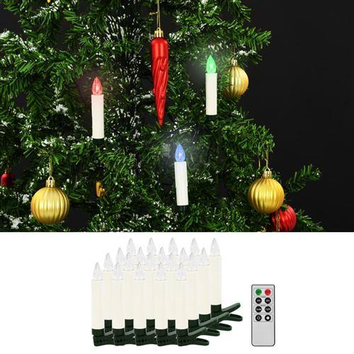 Bougies LED sans fil de No?l avec télécommande 20 pcs RVB