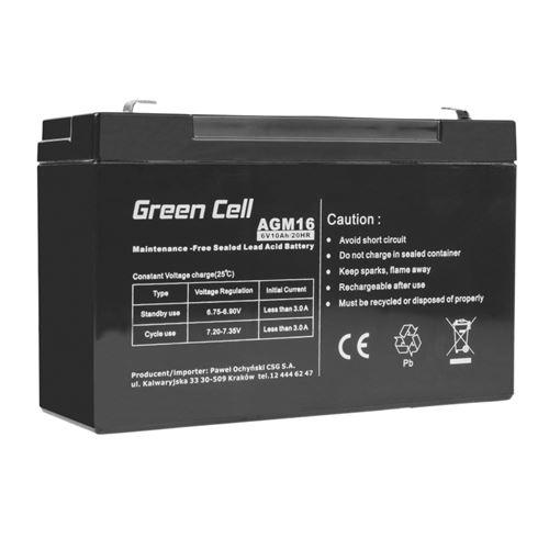 Green Cell AGM Batterie au plomb 6V 10Ah