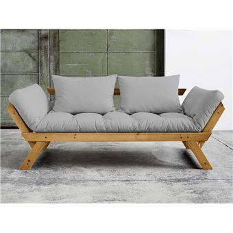 canap convertible en bois miel avec matelas futon bebop gris 2 places achat prix fnac. Black Bedroom Furniture Sets. Home Design Ideas