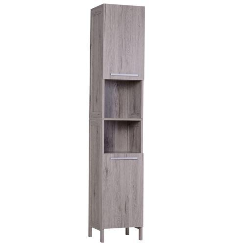 Meuble colonne rangement salle de bain dim. 30L x 32l x 172H cm 2 placards avec étagère + 2 niches MDF imitation bois gris