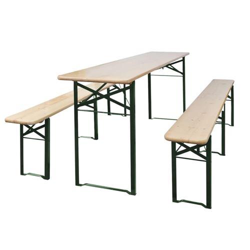 Table de brasserie pliable avec 2 bancs 220 cm Bois de sapin