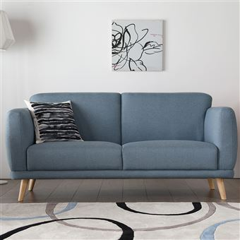 Agatha Bleu : Canapé Scandinave 3 Places Bleu Pastel