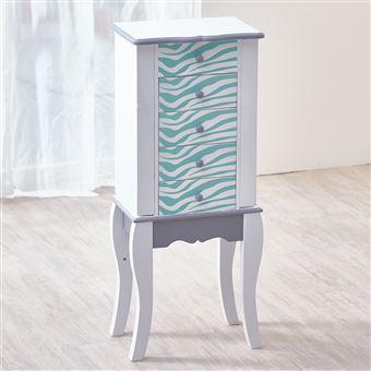 teamson meuble bijoux armoire bijoux prsentoir commode bijou bois bleu blanc dcoration de chambre achat prix fnac