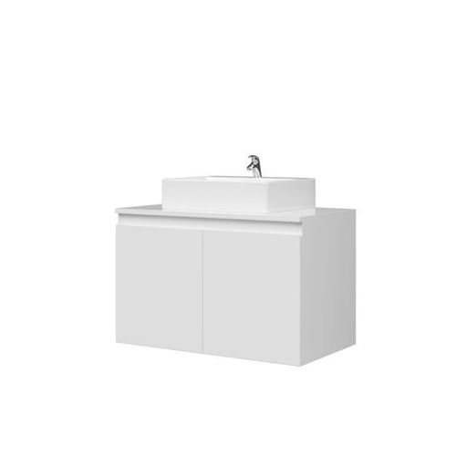 Meuble Vasque De Salle De Bain 2 Portes - Blanc Laque - L 80 X P 46 X H 50 Cm - Cina