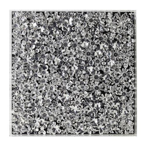 Tableau 3D fleurs argentées 100x100cm Kare Design