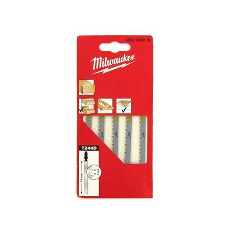 Pack de 5 lames scie sauteuse MILWAUKEE bois/PVC 75 mm denture de 4 mm 4932346078