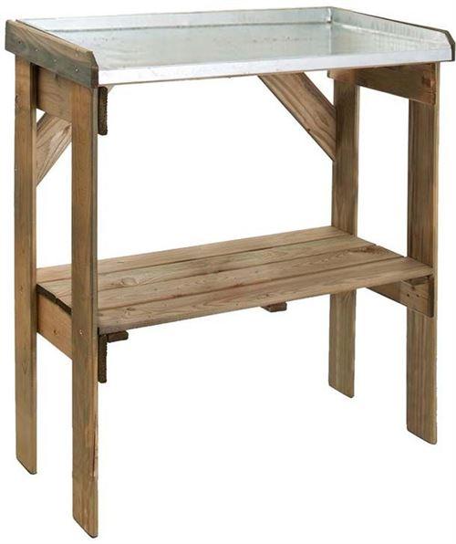 Jardipolys - Table de rempotage bois et zinc Pratik