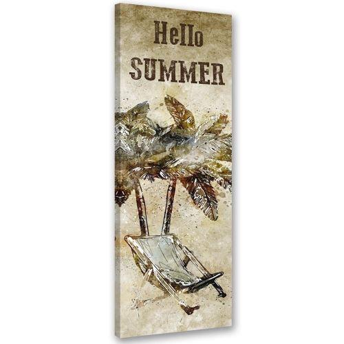 Image Tableau sur toile murale Canevas Palmier Chaise longue 45x140