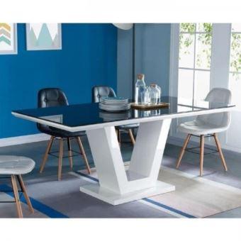 QUEEN Table a manger 8 personnes contemporain - Blanc brillant + Plateau en  verre trempee noir - L 180 x l 90 cm