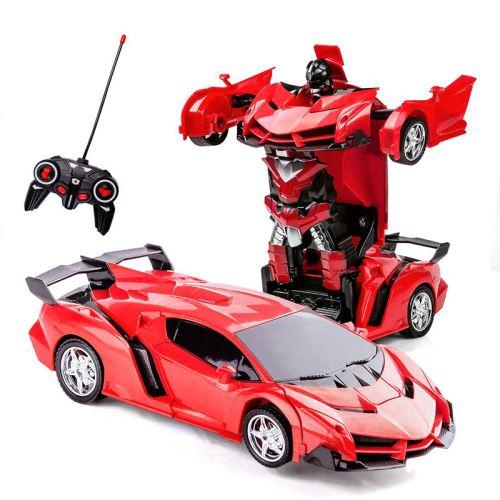 SHOP-STORY - Voiture télécommandée 2 en 1 transformable en robot - Couleur Rouge