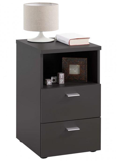 Table de chevet / table de nuit en bois coloris noire - L.35 x P.40 x H.61,5 cm -PEGANE-