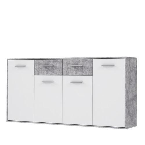 PILVI Buffet bas 4 portes 4 tiroirs - Blanc et beton gris clair - L 162,3 x P 34,2 x H 88,1 cm