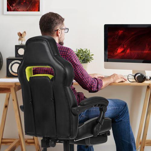 Chaise Ergonomique Langria Et Jeu Noir Gaming ChairGris De Bureau Aca071 BeorCxd