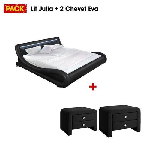 Lit design Julia 140 avec 2 tables de chevet noir