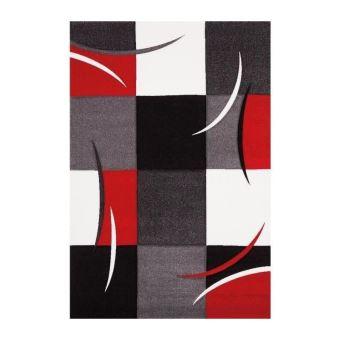DIAMOND Tapis de salon 160x230 cm rouge, gris, noir et blanc