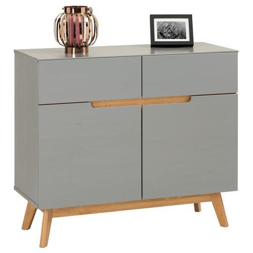 Buffet TIBOR style scandinave design vintage nordique commode bahut vaisselier avec 2 tiroirs et 2 portes, en pin massif lasuré gris