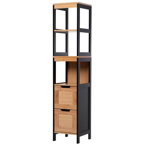 Meuble colonne rangement salle de bain style cosy dim. 30L x 30l x 144H cm 3 étagères 2 tiroirs bambou MDF noir