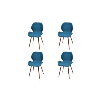 Hixo Lot De 4 Chaises De Salle A Manger En Metal Tissu Bleu Canard
