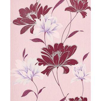 Papier Peint Design Motif Floral Fleurs Edem 168 34 Rouge Bordeaux