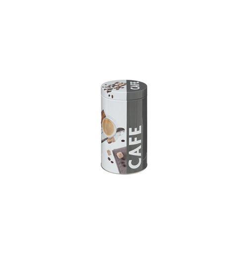 Boite ronde à café en relief - 19 x 11 cm - Métal - Gris