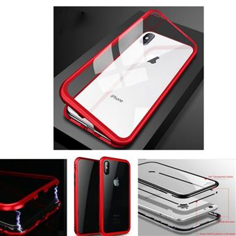 Coque Iphone XR 6,1 intégrale magnétique bumper métal rouge