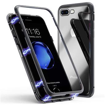Coque pour Apple iPhone 8 Coque Magnetique Noir Verre Trempe Houe Etui 360 Integral Full Protection Metal Film Vitre Ecran Ultra Resistant Phonillico